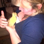 Lesley with duckling